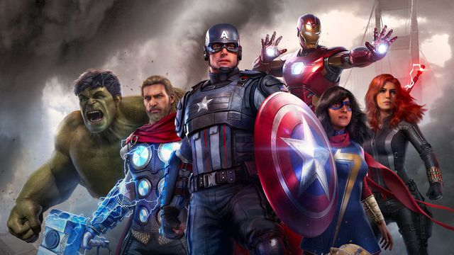 Artwork of the cast of Marvel's Avengers featuring Hulk, Captain America, Iron Man, Black Widow, Ms. Marvel, and Thor.