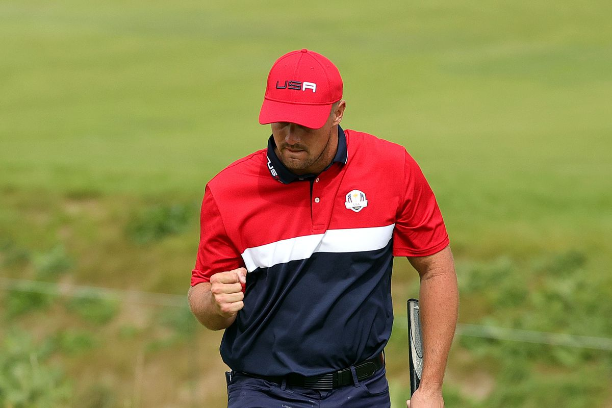 Bryson DeChambeau of team United States reacts to a putt on the on the ninth green during Sunday Singles Matches of the 43rd Ryder Cup at Whistling Straits on September 26, 2021 in Kohler, Wisconsin.