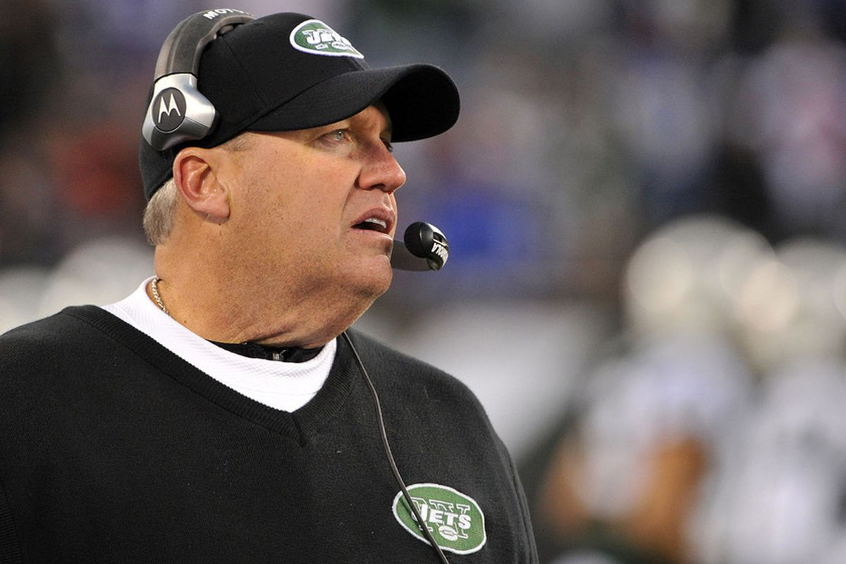 New York Jets head coach Rex Ryan watched his team's season slip away Sunday. (Photo by Christopher Pasatieri/Getty Images)