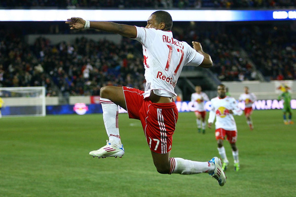 Juan Agudelo did a nice Juan Pablo Ángel impression with his goal celebration on Saturday night. (Photo by Andy Marlin/Getty Images)