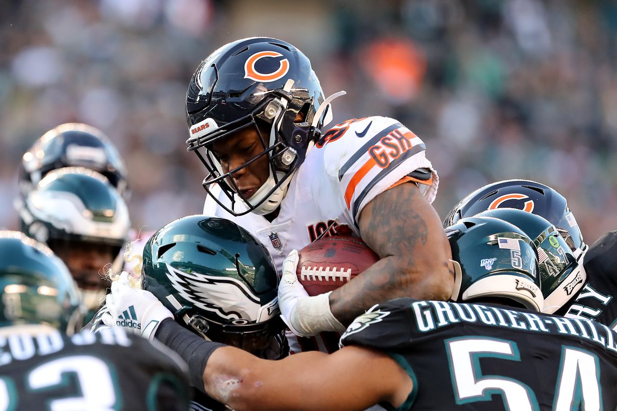 Bears running back David Montgomery runs against the Eagles earlier this month.
