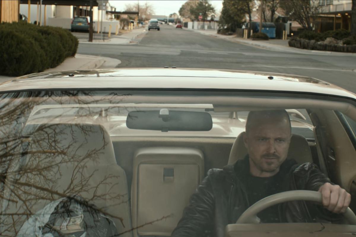 Jesse Pinkman driving in El Camino.