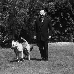 Former President Herbert Hoover is on the grounds of his home on the Stanford University campus, in Palo Alto, California on August 10, 1934, where he observed his 60th birthday.