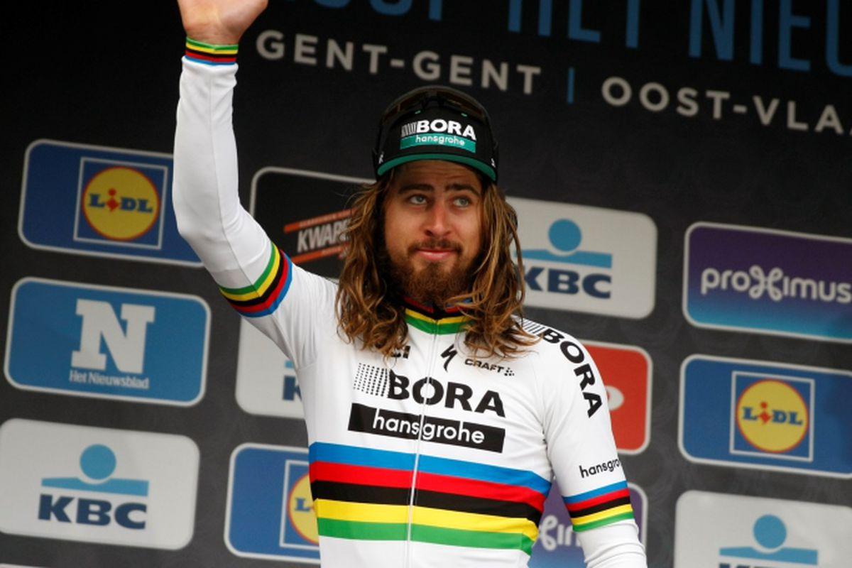 Sagan on the Omloop podium