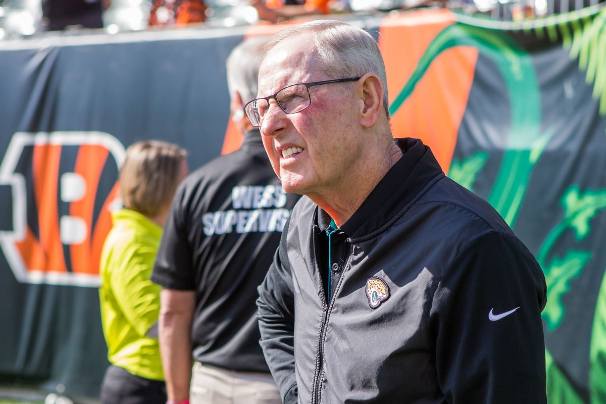 Executive vice president of football operations for the Jacksonville Jaguars Tom Coughlin on the field during warm ups against the Cincinnati Bengals at Paul Brown Stadium.