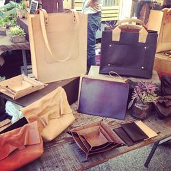 """A taste of <ah ref=""""http://angelapau.com/""""target=""""_blank"""">Angela Pau</a>'s chic leather goods, which are all hand-crafted in Venice."""