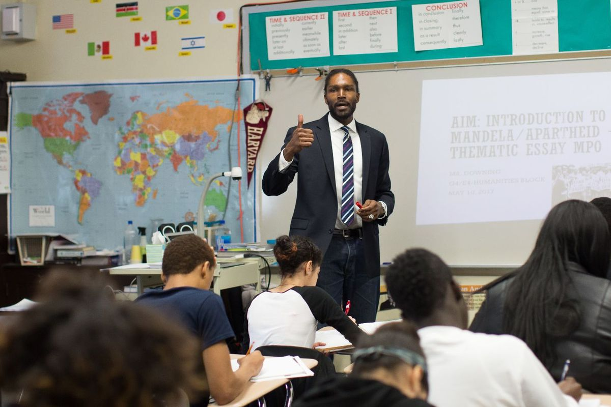 Kelly Downing in his classroom at A. Philip Randolph Campus High School.