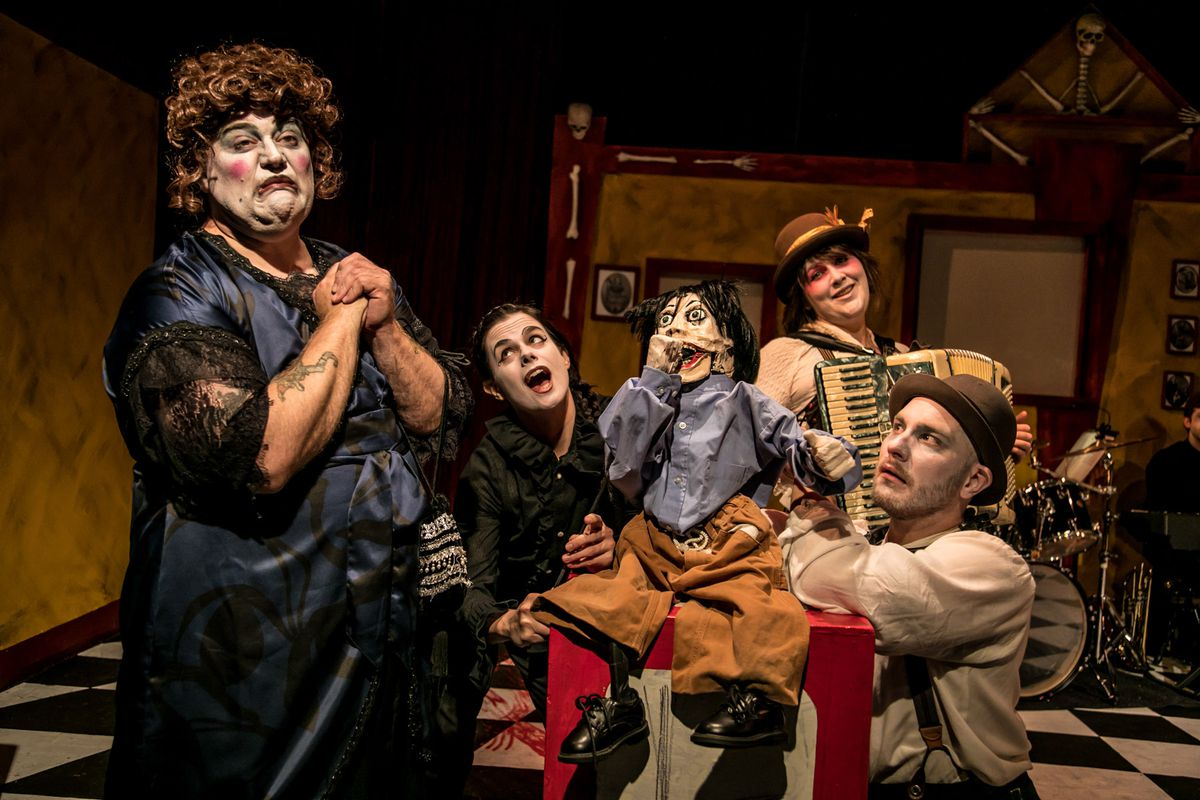 """Anthony Whitaker (from left), Kat Evans, Gwen Tulin and Pavi Proczko in Black Button Eyes Productions' """"Shockheaded Peter."""" (Photo: Cole Simon)"""