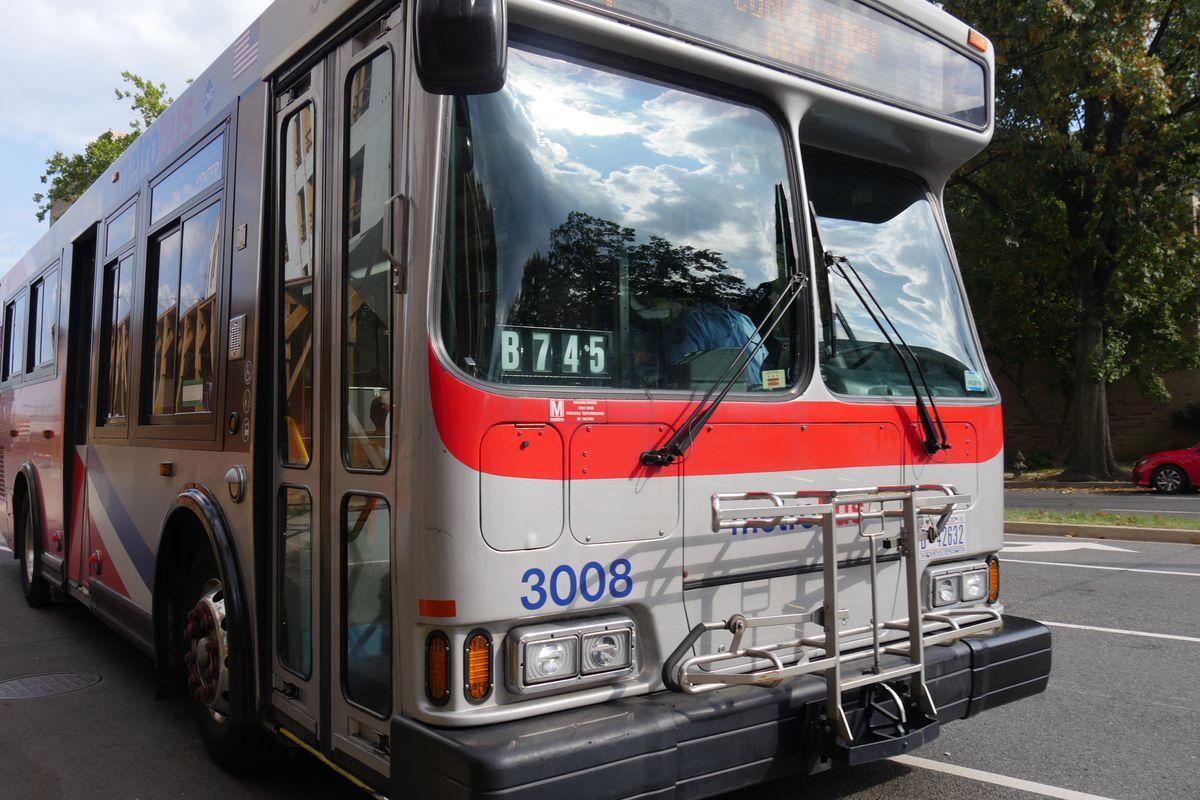 A public bus on a city street.