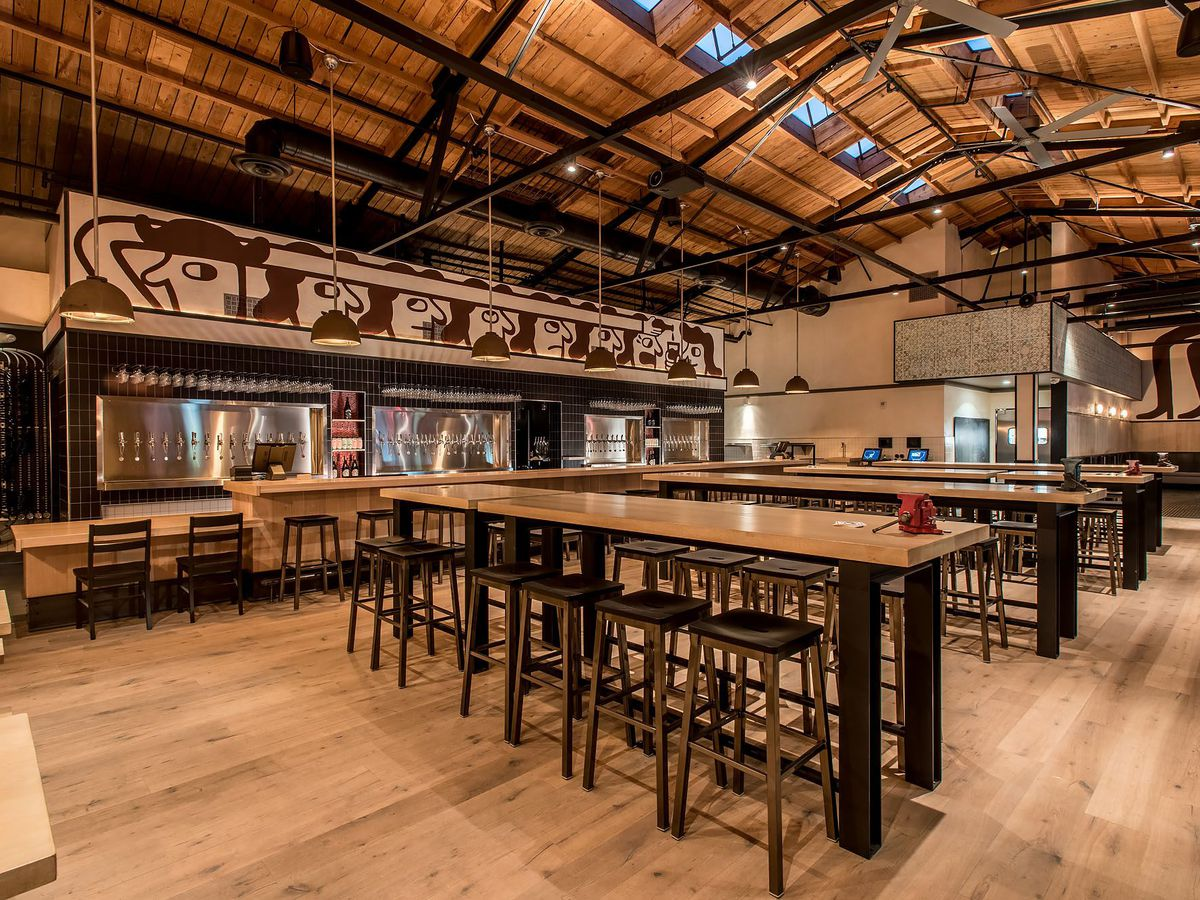 A spacious craft beer bar with lots of communal tables.