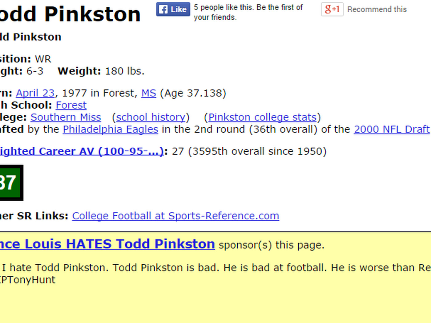 Someone Hates Todd Pinkston So Much They Sponsored His Pro Football