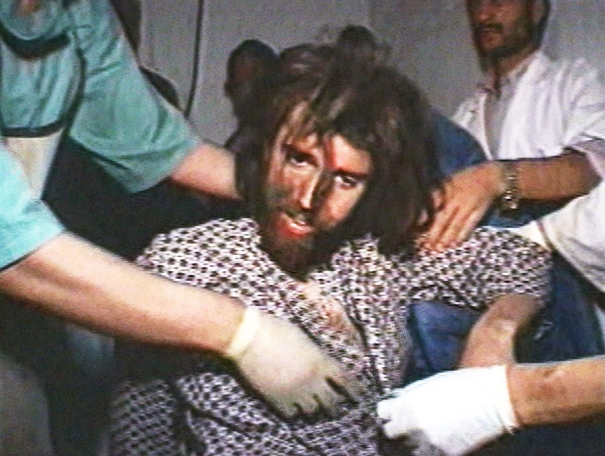 John Walker Lindh being treated at a US Army hospital on December 2, 2001, in Sheberghan, Afghanistan, following his capture.