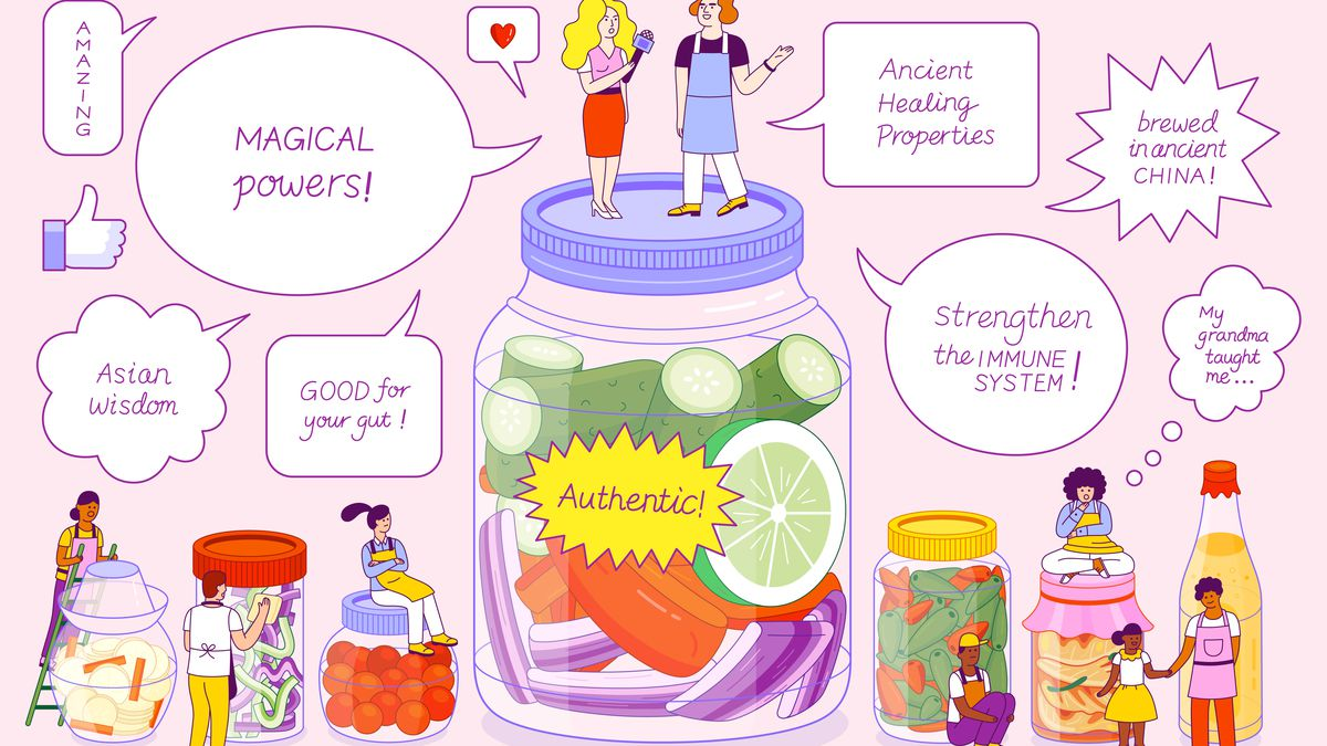 """Jars of fermented foods with two white people standing on top of the largest one and people of color on top of or near the smaller ones. Thought and voice bubbles with claims like """"magical powers,"""" """"strengthens the immune system,"""" and """"ancient healing properties"""" hover in the background."""
