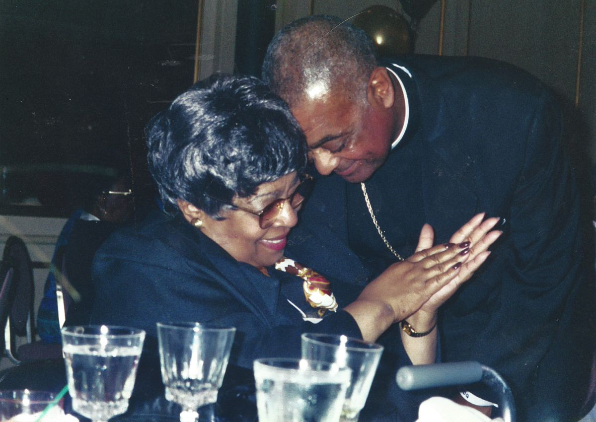 Cardinal Wilton Gregory with his mother, Ethel Duncan Gregory, who passed away in 2013. The archbishop of Washington, D.C. was elevated with 12 other cardinals Saturday in Rome, becoming the first African American ever to serve on the highest governing body of the global Catholic church.