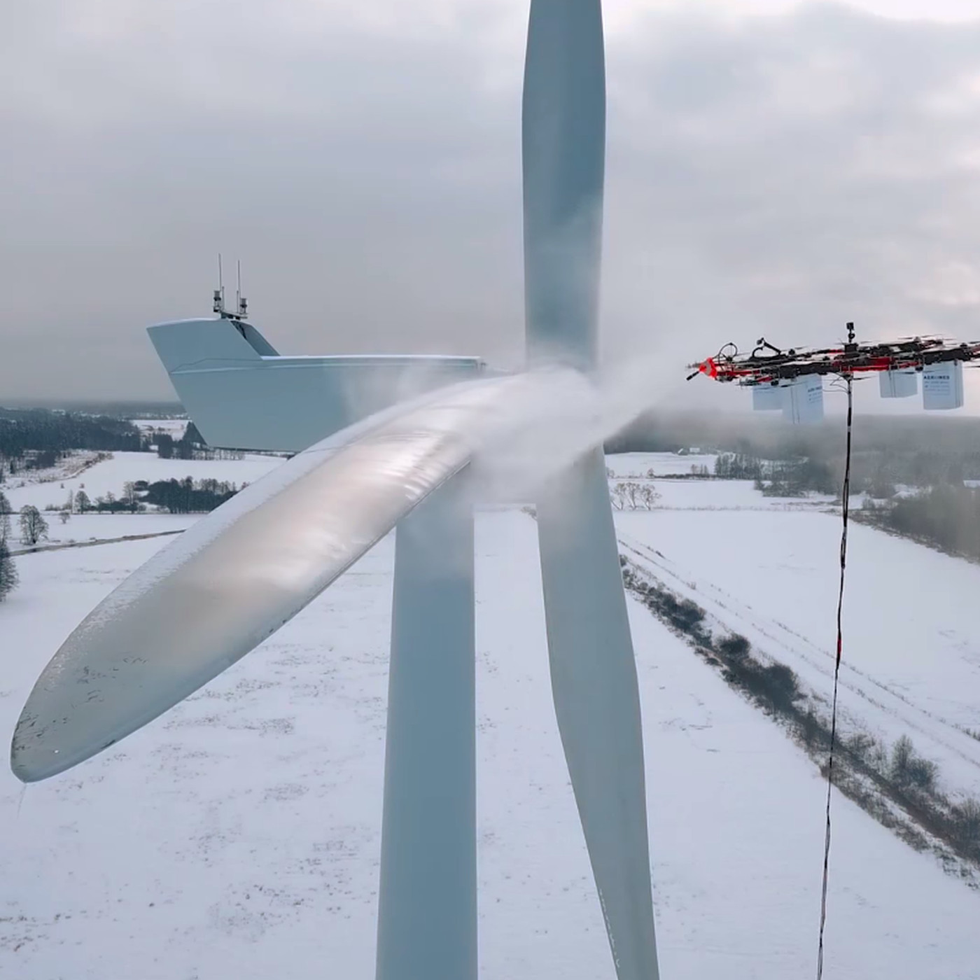 Watch a giant industrial drone de-ice a huge wind turbine