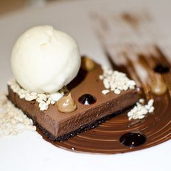"""Bittersweet Chocolate Mousse Tart with Smoked Salt Butterscotch, Huckleberry, and White Chocolate-Miso Ice Cream  Ultimate Craigie Experience from Craigie on Main by <a href=""""http://www.flickr.com/photos/blumiethekoala/"""">Blumie the Koala</a>."""