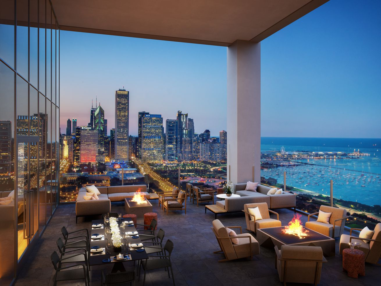 An outdoor amenity deck overlooks Chicago's Grant Park, Monroe Harbor, and Navy Pier.