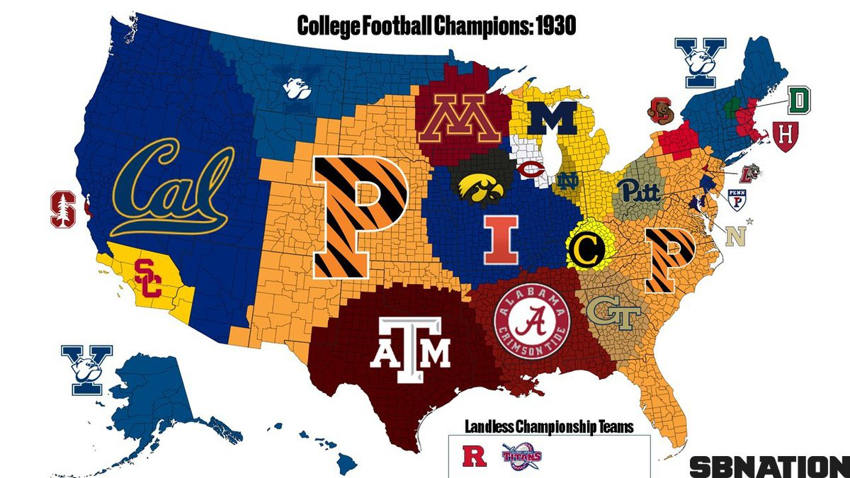 A complete college football Empires Map of national championship ...