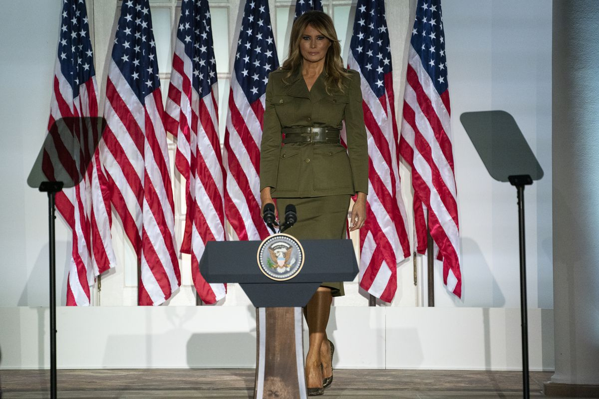 First lady Melania Trump arrives to speak to the 2020 Republican National Convention from the Rose Garden of the White House on Tuesday.