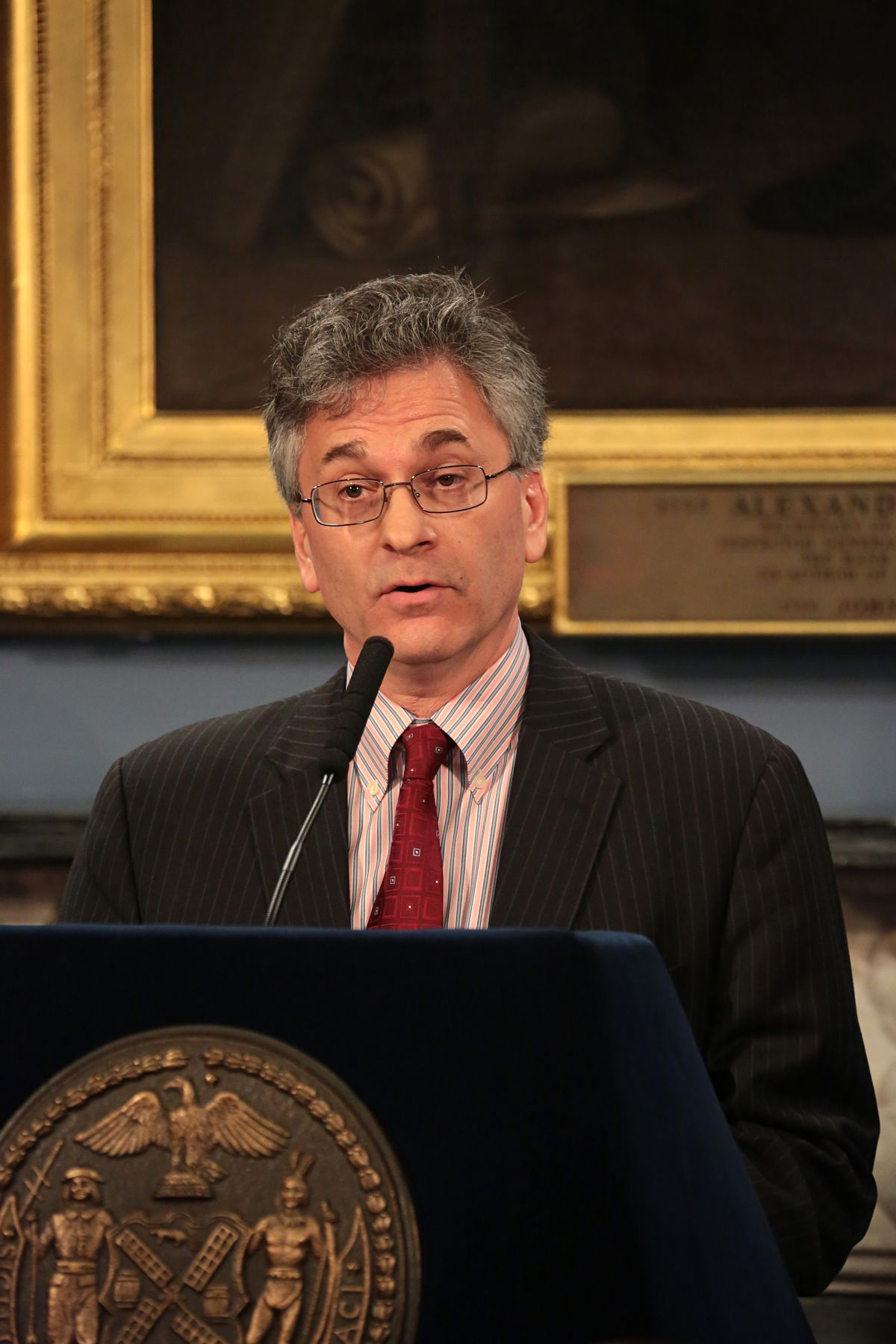 Vincent Schiraldi speaks in City Hall after being named a senior advisor to the Office of Criminal Justice, March 11, 2014.