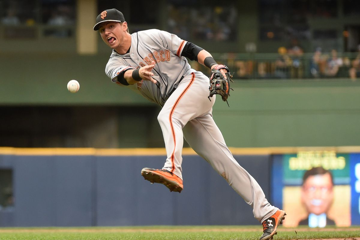 Okay, you can't see the uniform THAT well, but Joe Panik is making a silly face, so that's pretty good too