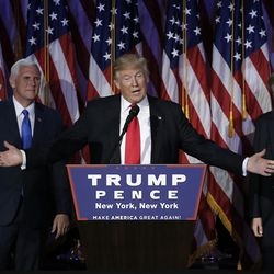 Republican U.S. presidential nominee Donald Trump speaks at his election night rally in Manhattan, New York, on Nov. 9, 2016.