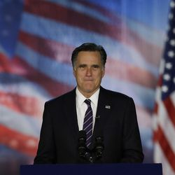 Republican presidential candidate and former Massachusetts Gov. Mitt Romney arrives to his election night rally, Wednesday, Nov. 7, 2012, in Boston. President Obama defeated Republican challenger former Massachusetts Gov. Mitt Romney.