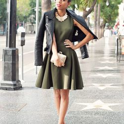 """Grasie of <a href=""""http://www.grasiemercedes.com""""target=""""_blank"""">Style Me Grasie</a> is wearing a <a href=""""http://www.shopfigureandform.com/collections/contemporary/products/green-inez-dress""""target=""""_blank"""">Timo Weiland</a> dress, a Zara jacket and shoes,"""