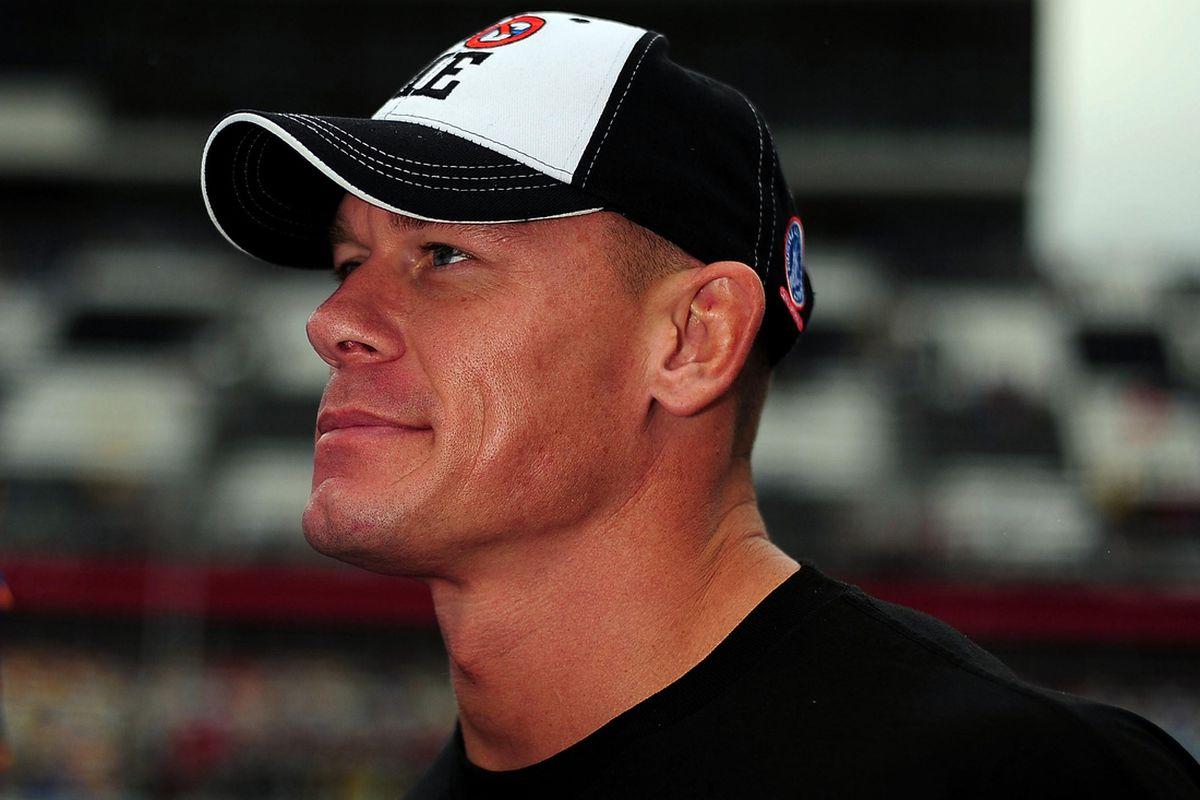 Feb 25, 2012; Daytona Beach, FL, USA; Wrestler and actor John Cena prior to the Daytona 500 at Daytona International Speedway. Mandatory Credit: Andrew Weber-US PRESSWIRE