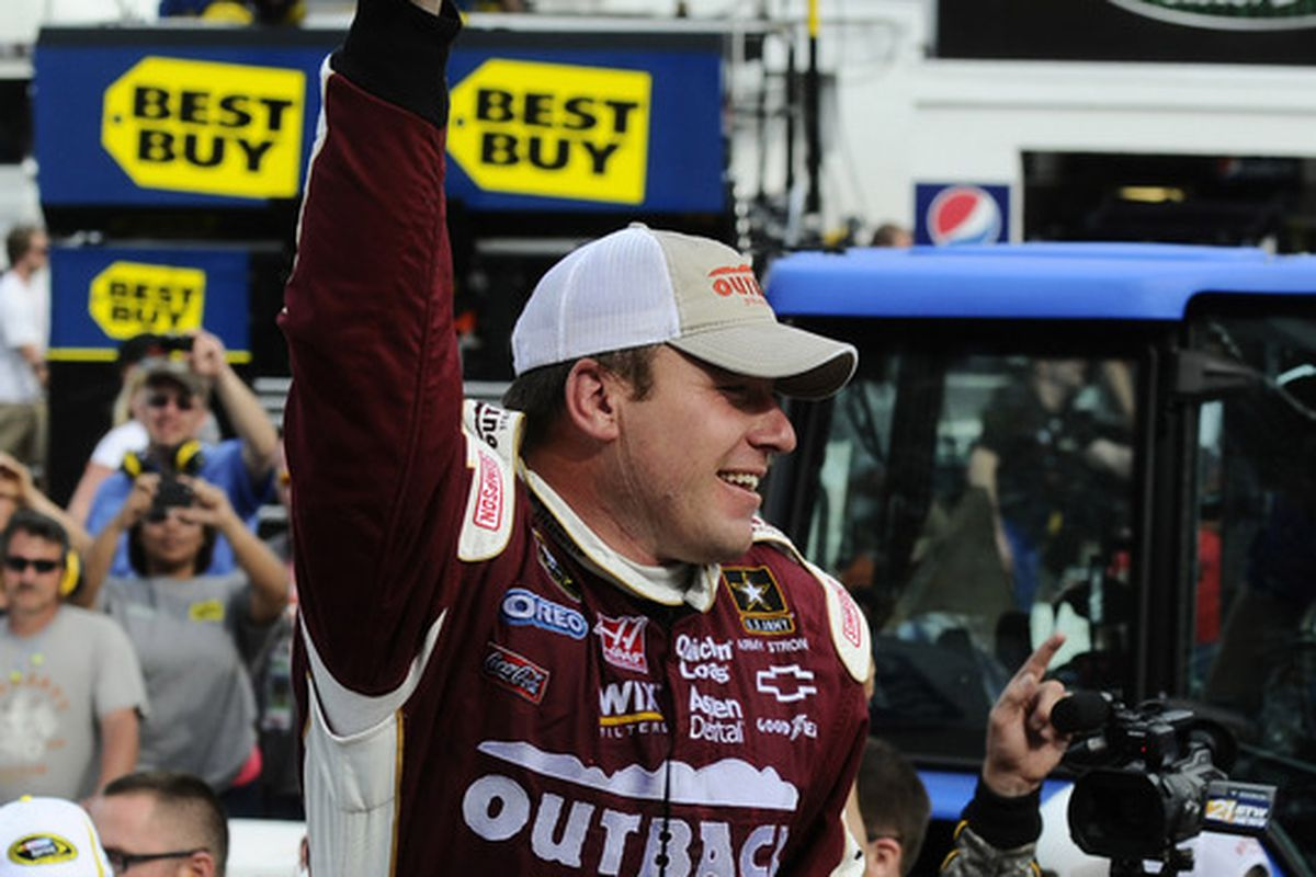 April 1, 2012; Martinsville, VA, USA; NASCAR Sprint Cup Series driver Ryan Newman (39) win the Goody's Fast Relief 500 at Martinsville Speedway. Mandatory Credit: Sam Sharpe-US PRESSWIRE
