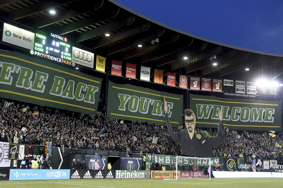 Tifo is displayed before the match - Sporting Kansas City v Portland Timbers - MLS Western Conference Finals