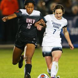 UNLV Chidera Akubuilo (19) battles BYU Michele Vasconcelos (7) for the ball as BYU and UNLV play in the first round of the NCAA tournament in Provo on Friday, Nov. 11, 2016.