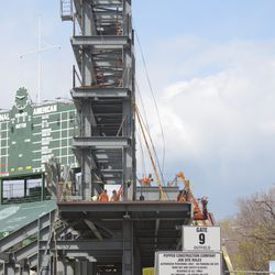 2:48 p.m. Another view of the lines coming down from the top of the right field video board structure -
