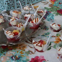 Strawberry, lime, and rosemary caramel parfaits from Bribery Bakery.