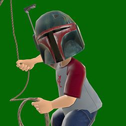 A Gamerpic of Boba Fett, wearing an Alabama Crimson Tide shirt, jorts, and mandals, twirling a Red Dead Redemption lasso.