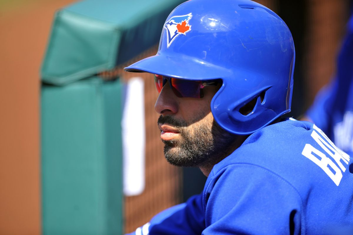 """""""I'm doing my best to look tough, but it's difficult with this silly bird on my hat."""" - Jose Bautista"""