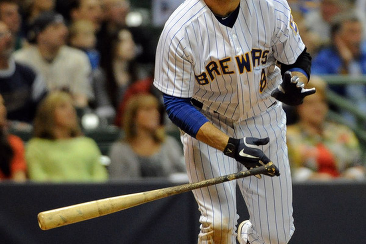 May 18, 2012; Milwaukee, WI, USA;   Milwaukee Brewers left fielder Ryan Braun (8) watches his home run in the sixth inning against the Minnesota Twins at Miller Park.  Mandatory Credit: Benny Sieu-US PRESSWIRE