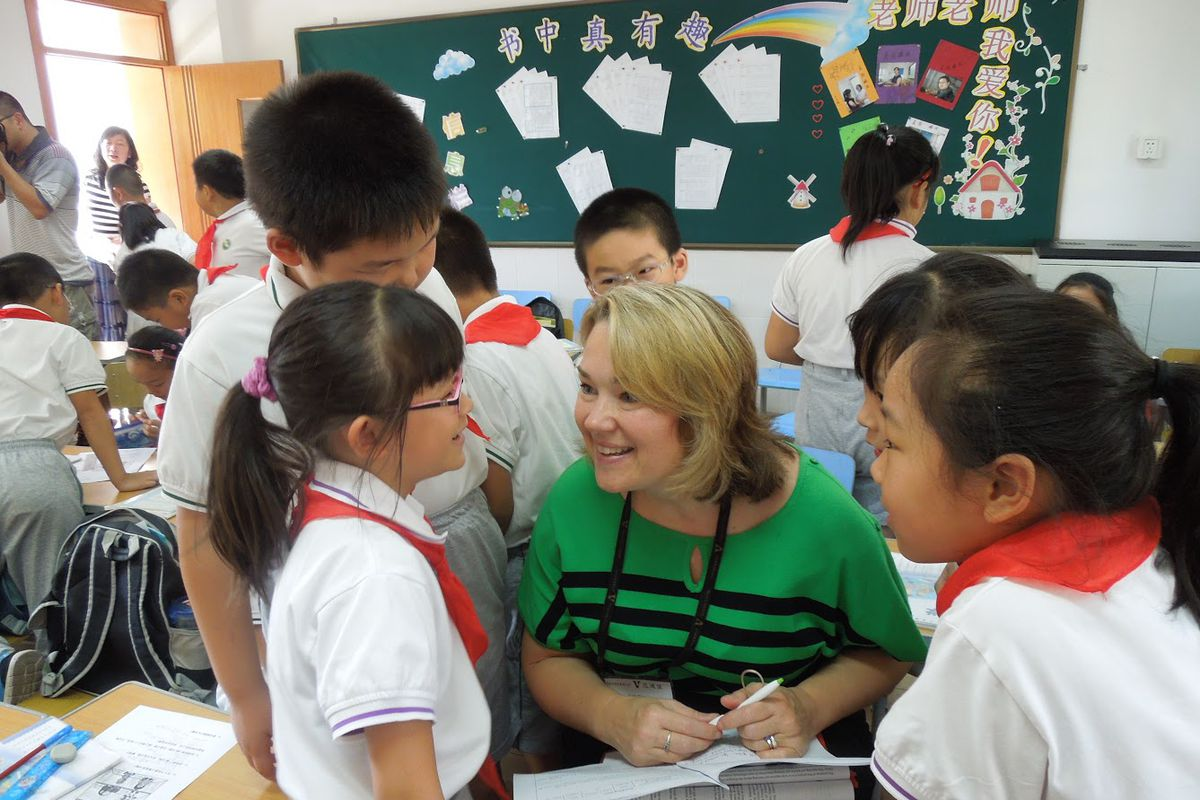 Beth Blevins, principal of South Doyle Middle, Knox County Schools, in Shanghai.