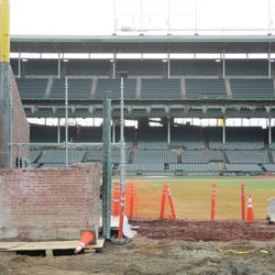 Another view of the inner bleacher wall that has been removed near Gate Q