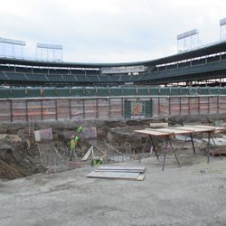 Quite a bit of the left-field bleachers have been excavated