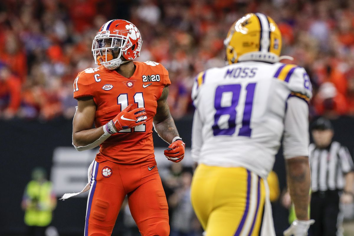 Linebacker Isaiah Simmons of the Clemson Tigers defends Tight End Thaddeus Moss of the Clemson Tigers during the College Football Playoff National Championship game at the Mercedes-Benz Superdome on January 13, 2020 in New Orleans, Louisiana.
