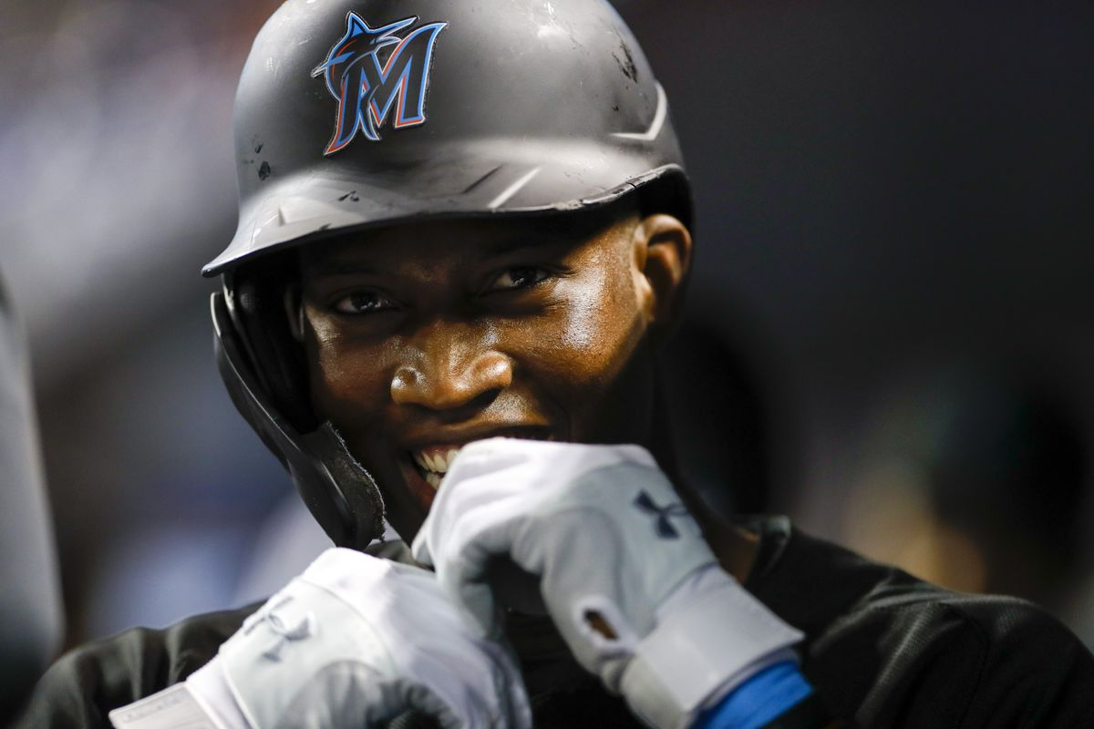 Jesus Sanchez #76 of the Miami Marlins celebrates scoring after hitting a two-run home run during the first inning against the Philadelphia Phillies at loanDepot park