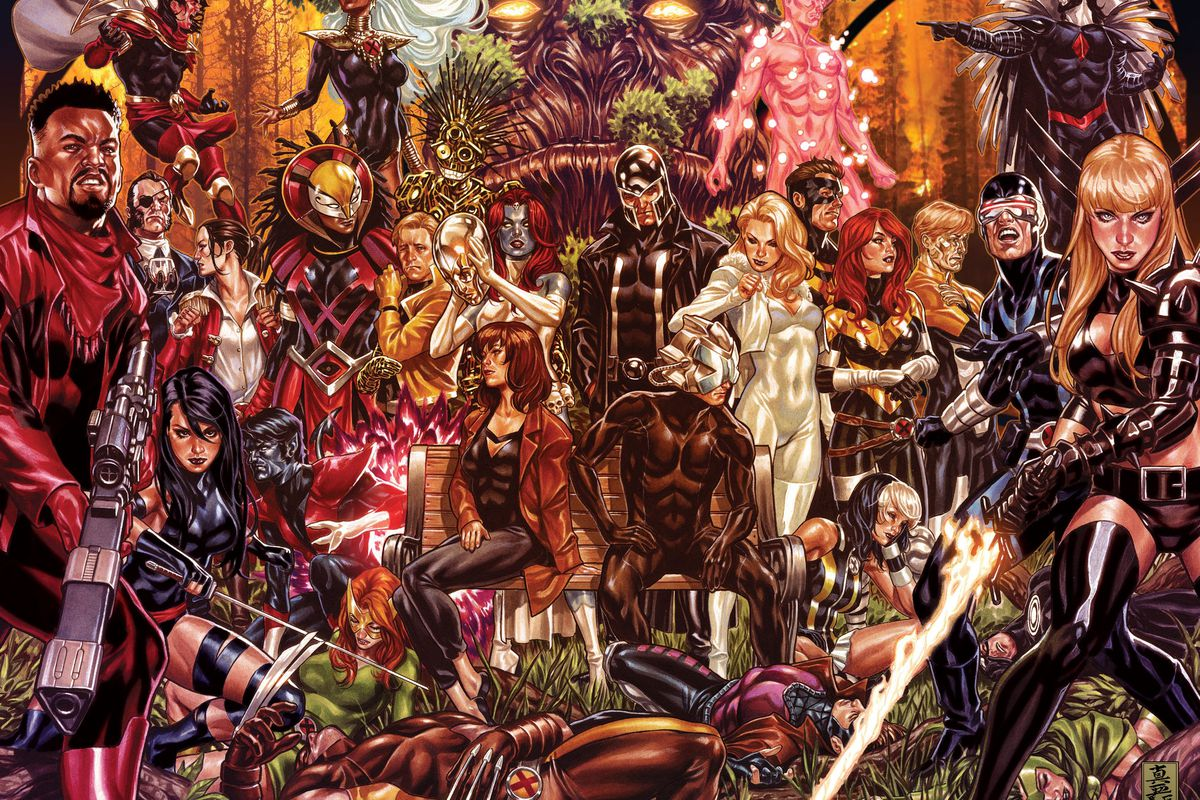 The cast of the X-Men comics gather in large numbers in promotional art for the Inferno event.