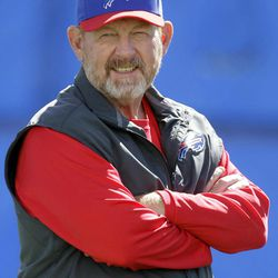 Buffalo Bills coach Chan Gailey looks on during NFL football practice in Orchard Park, N.Y., Wednesday, Sept. 19, 2012.