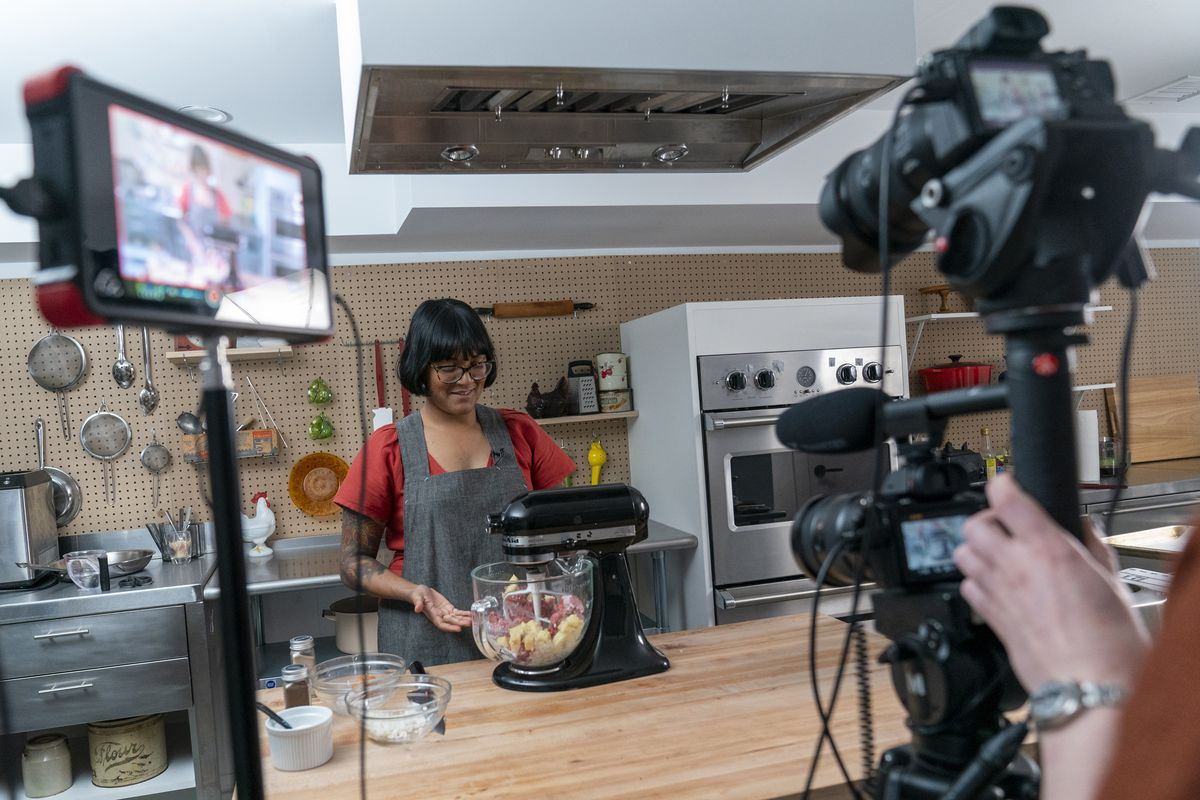 "Chef Sohla El-Waylly prepares Swedish meatballs during a taping of ""Stump Sohla,"" in New York."