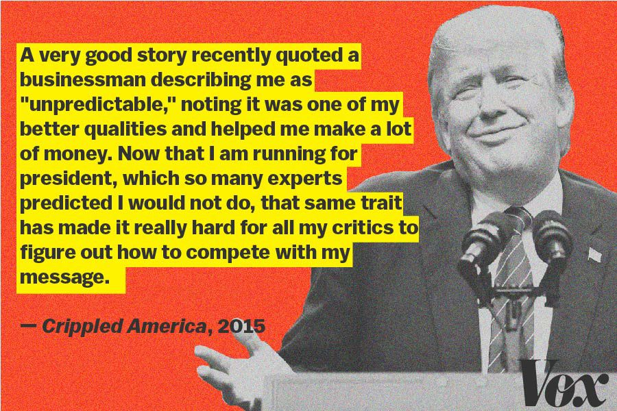 Trump writes about being unpredictable as a great asset