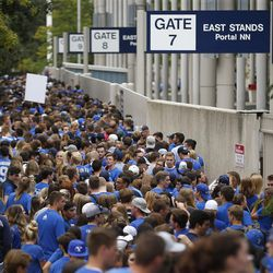 Fans line up prior to the Utah-BYU game in Provo on Saturday, Sept. 9, 2017.