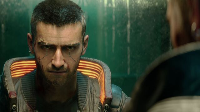 Shortly after the death of their partner, the player character stares into a filthy bathroom mirror in Cyberpunk 2077.