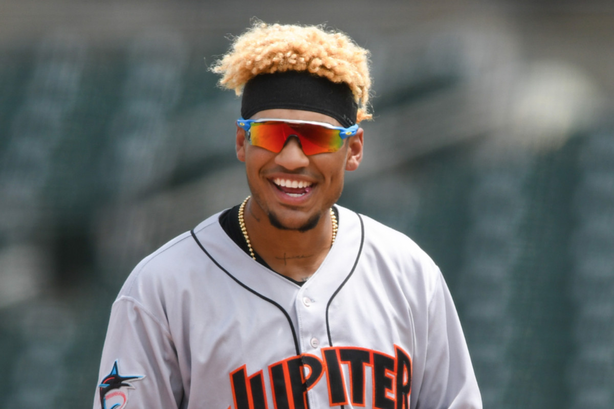Outfielder Víctor Mesa Jr. smiles during a game with the Low-A Jupiter Hammerheads