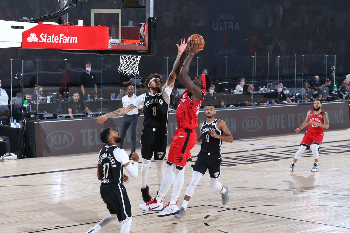 Pascal Siakam of the Toronto Raptors shoots the ball against the Brooklyn Nets during Round One, Game Four of the NBA Playoffs on August 23, 2020 at the The Field House at ESPN Wide World Of Sports Complex in Orlando, Florida.